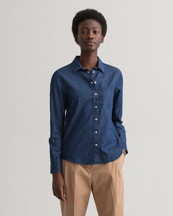 Chambray hemd met contrast