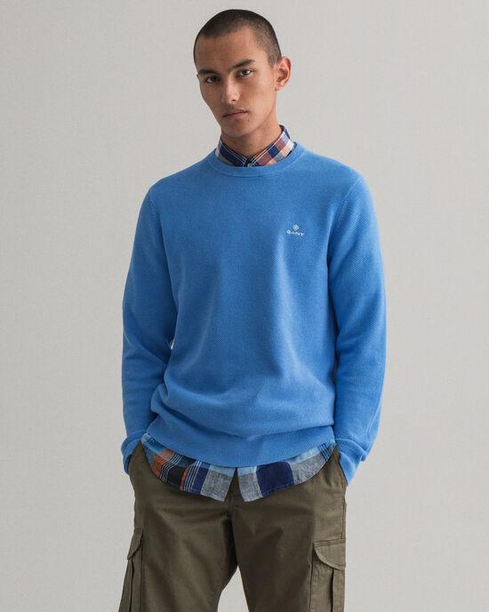 Sweater met ronde hals van piquékatoen