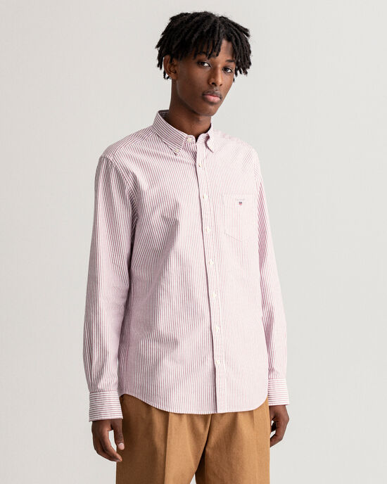 Regular Fit Oxford-hemd met Banker-streep