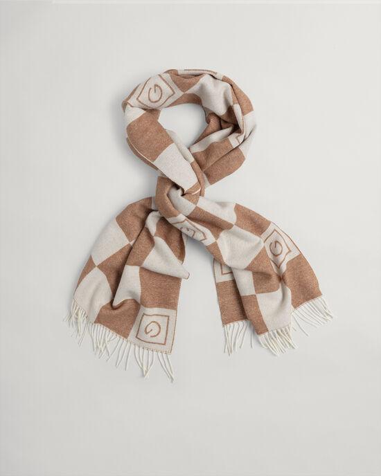 Écharpe en laine à carreaux ton sur ton