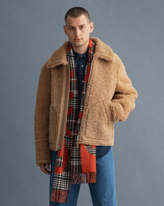 Veste en peau lainée