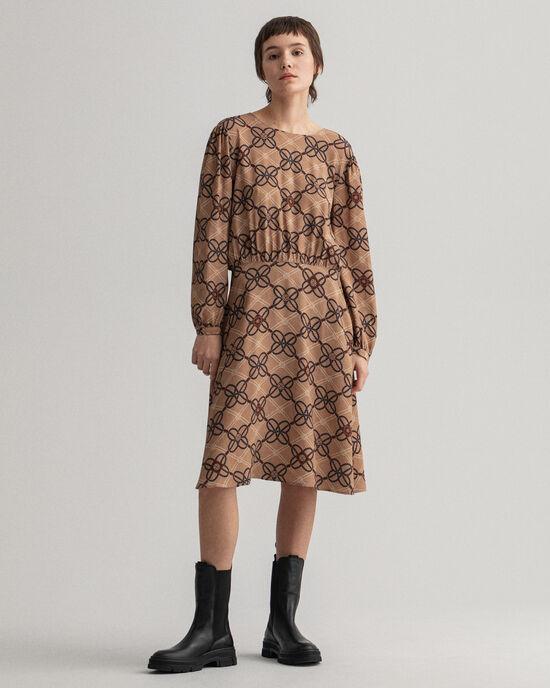 Rope-print jurk van viscosecrêpe