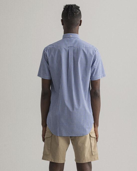 Regular Fit hemd van poplin met korte mouwen en Gingham-ruitje