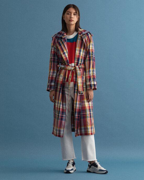 Oversized geruite trenchcoat