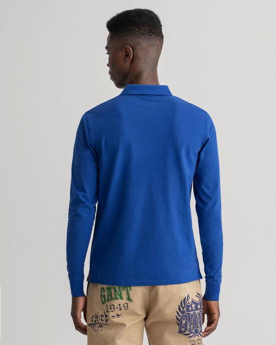 Polo Rugger en coton piqué à manches longues avec col contrastant
