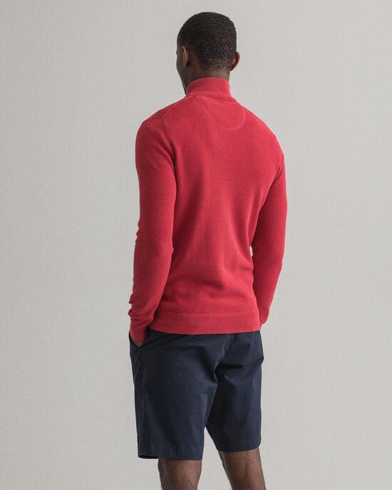 Sweater van katoenpiqué met korte rits