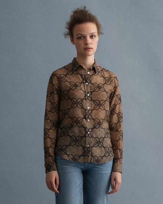 Rope-print blouse van katoenzijde