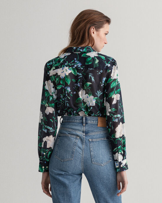 Rose-print hemd van katoenzijde