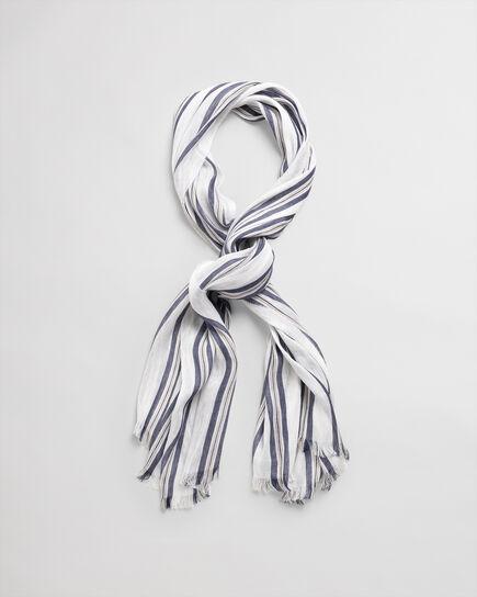Foulard en coton et lin à rayures