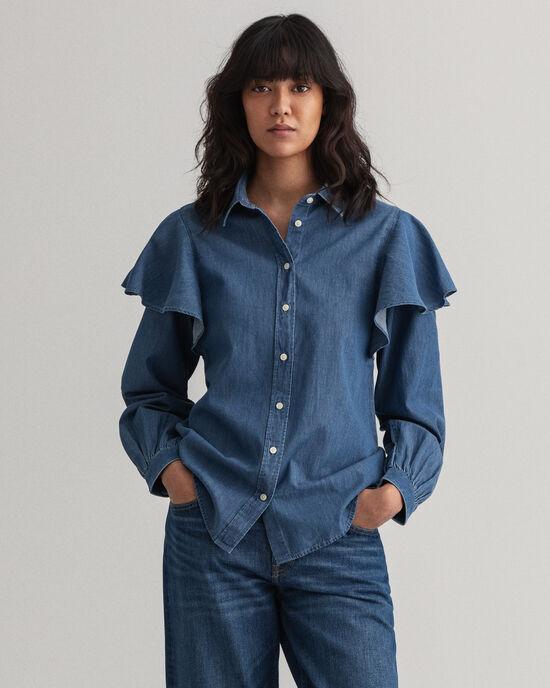 Indigo blouse met pofmouwtjes en ruche