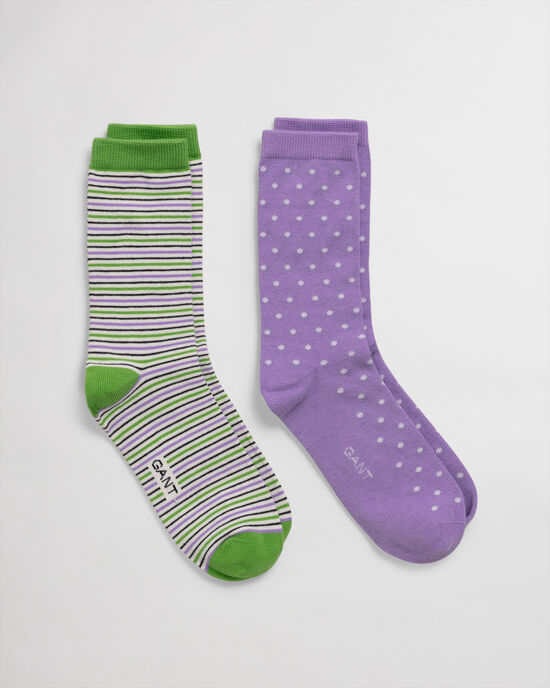 Set van twee paar sokken met stippen en strepen