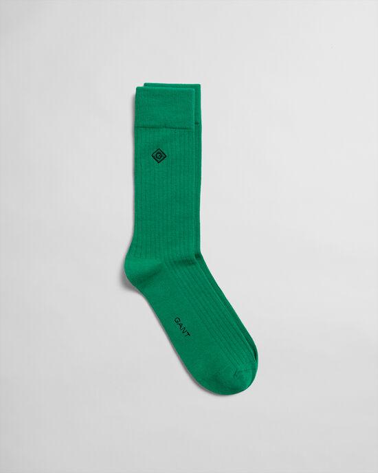 Chaussettes côtelées unies avec broderie