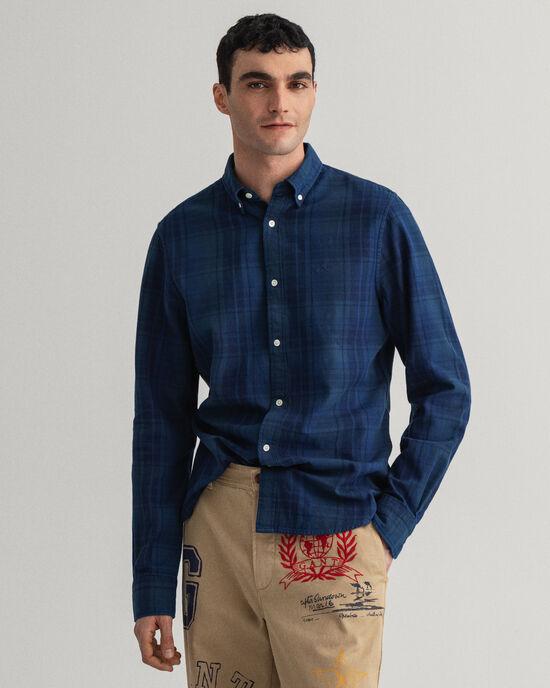 Slim Fit hemd van keperstof met onderbroken ruitje