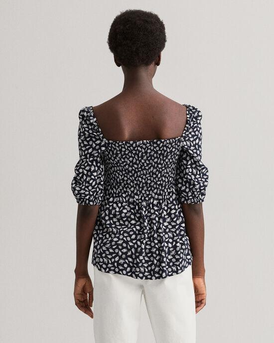 Off-shoulder blouse met Shell print