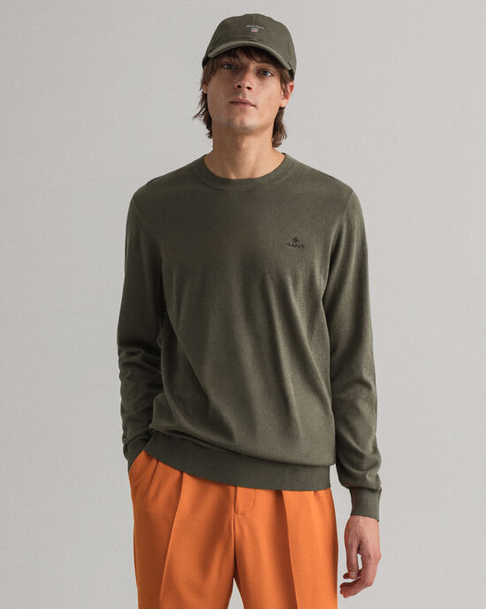 Sweater met ronde hals van katoen-kasjmier