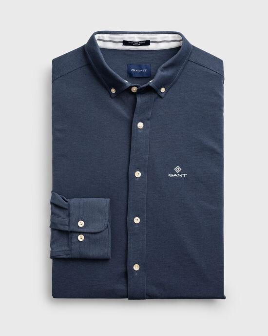 Regular Fit piqué hemd met Tech Prep™