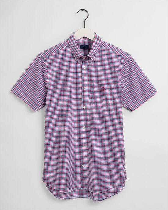 Regular Fit hemd van poplin met korte mouwen en driekleurig Gingham-ruitje