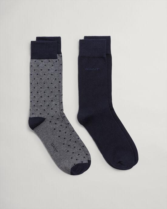 Set van twee paar effen & gestippelde sokken