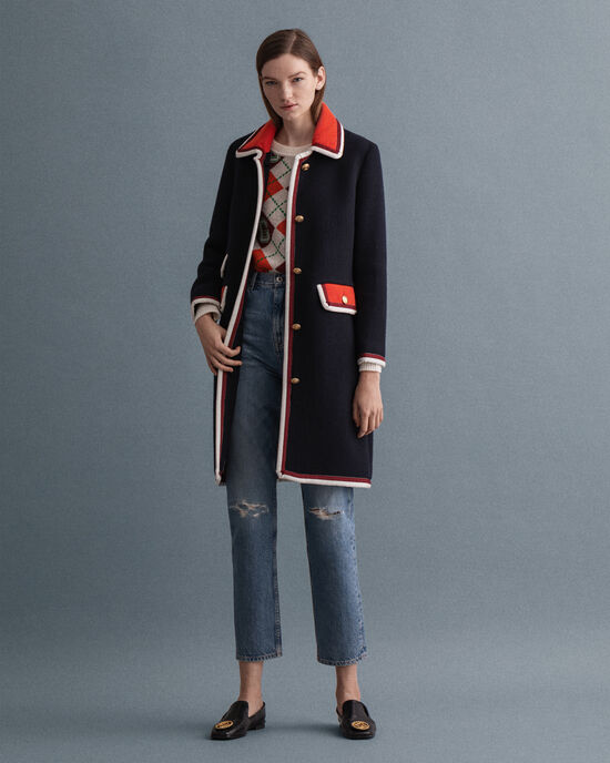 Manteau en tweed Bold Contrast