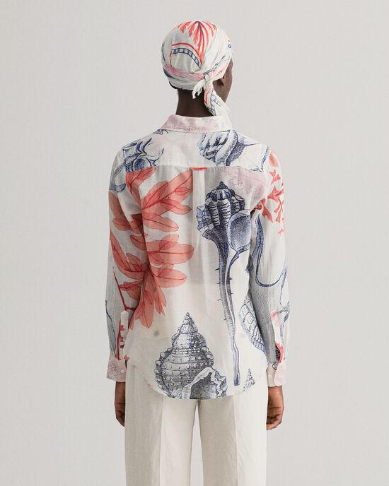 Hemd van katoen en zijde met Seashell print