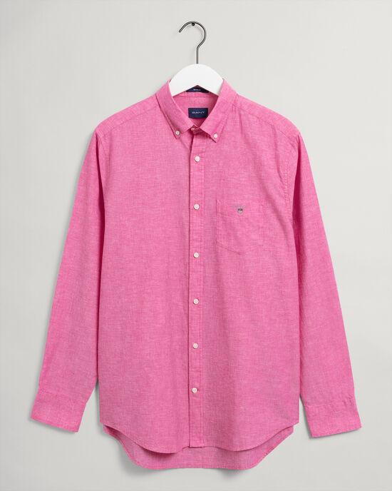 Regular Fit hemd van katoen en linnen