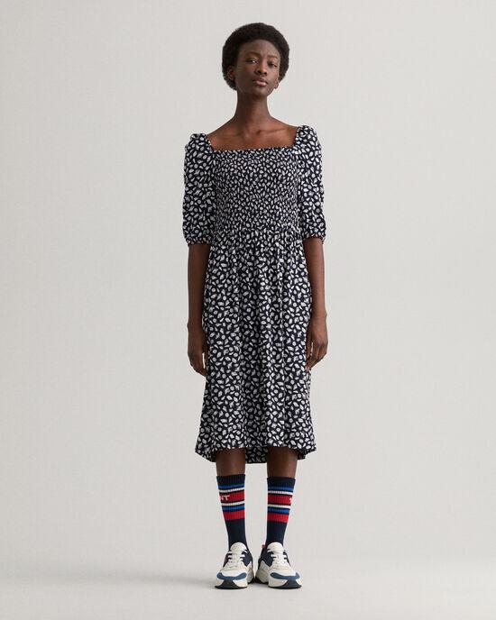 Off-shoulder jurk met Shell print