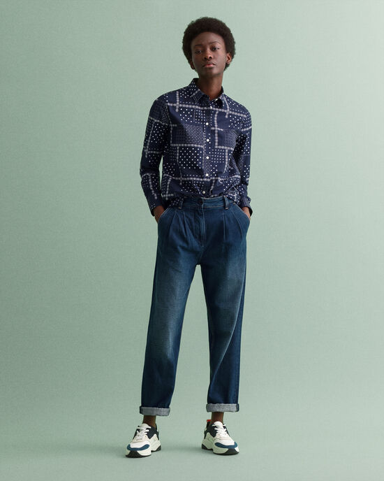 Pantalon chino taille haute en denim plissé
