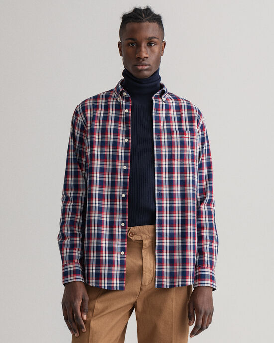 Regular Fit Tech Prep™ indigo Oxford-hemd met ruitje
