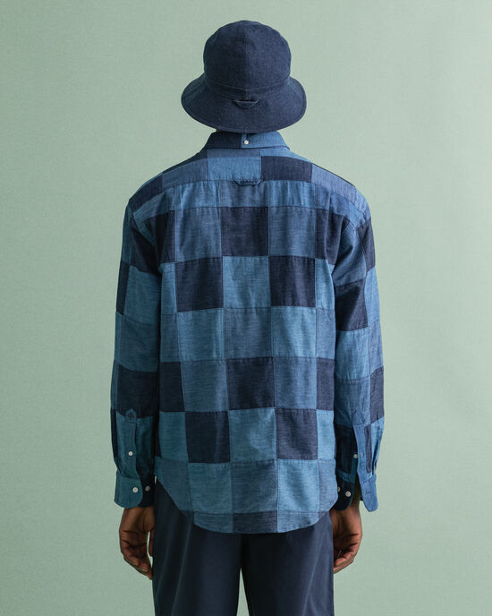 Relaxed Fit Indigo hemd met patchwork