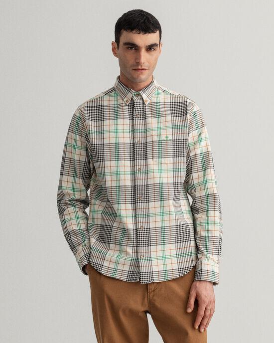 Regular Fit hemd van zware geruite keperstof