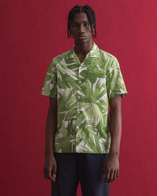 Regular Fit hemd met korte mouwen en Palm Breeze-print