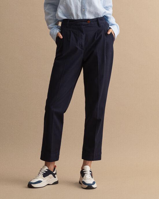 Pantalon chino plissé à taille haute