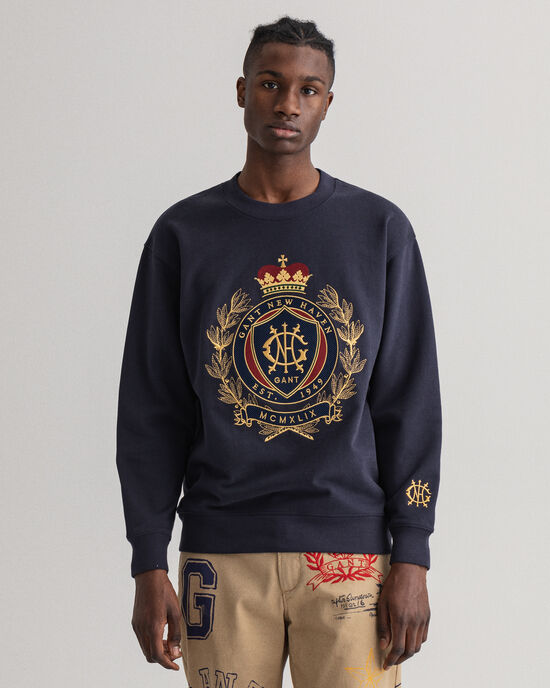 Royal Crest sweatshirt met ronde hals