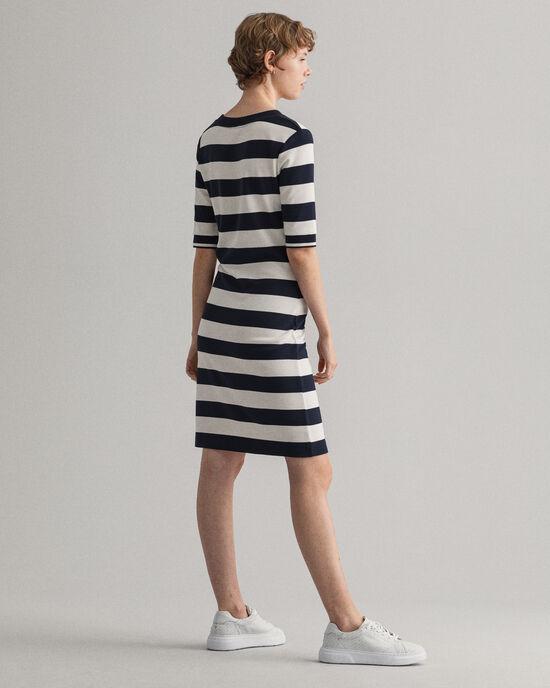 Jersey jurk met brede strepen