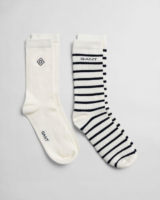 Set van twee paar effen en gestreepte sokken