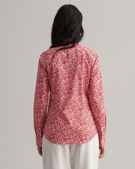 Chemise en popeline de coton stretch à imprimé Bouquet