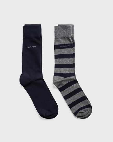 Lot de 2paires de chaussettes unies et à larges rayures