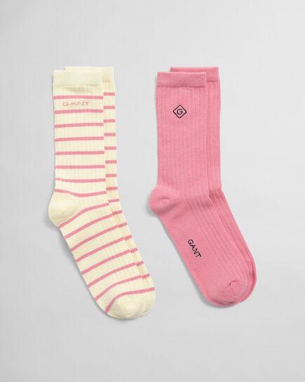 Lot de 2paires de chaussettes unies et à rayures