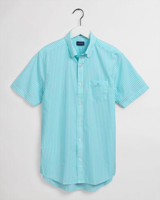 Regular Fit gestreept poplin hemd met korte mouwen