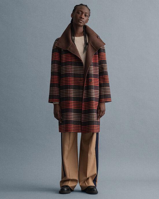 Manteau trapèze réversible à carreaux