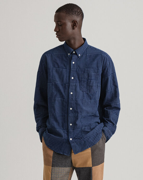 Chemise relaxed fit indigo façon patchwork REMAKE