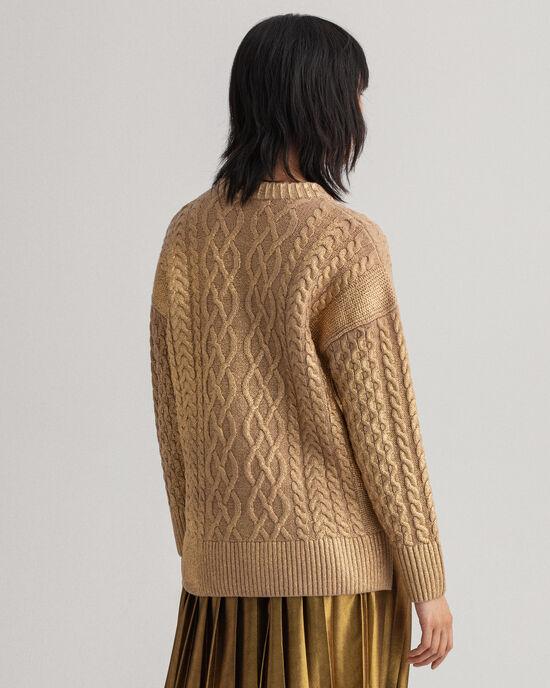 Goudkleurige Aran-trui met ronde hals