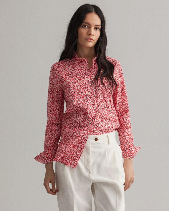 hemd van stretchpoplin met Micro Bouquet print
