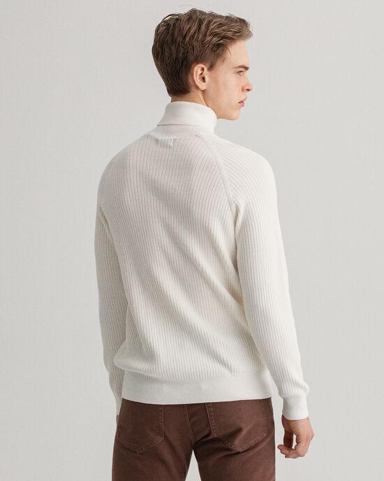 Pull col roulé en coton Texture