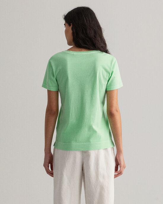 Sunfaded T-shirt met V-hals