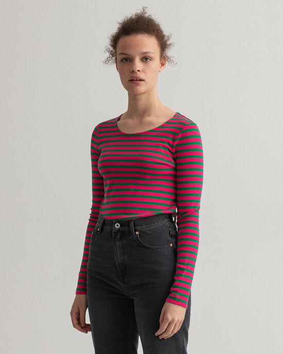 T-shirt côtelé à manches longues et rayures