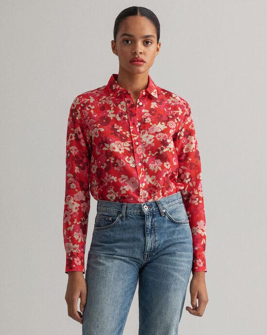 hemd van katoen en zijde met Liberation Bouquet-print