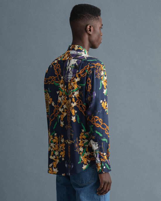 Relaxed Fit lyocell hemd met Chain-print