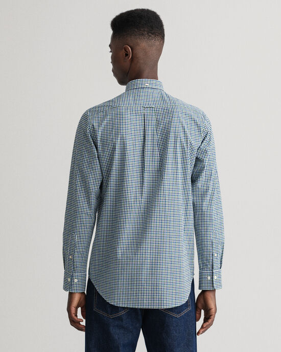 Regular Fit hemd van poplin met driekleurig Gingham-ruitje