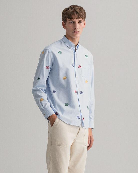 Relaxed Fit Oxford-hemd met geborduurde Crest